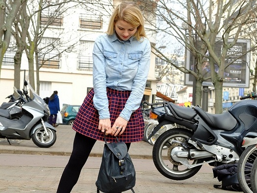 once-in-paris-denim-chequered-skirt-preppy